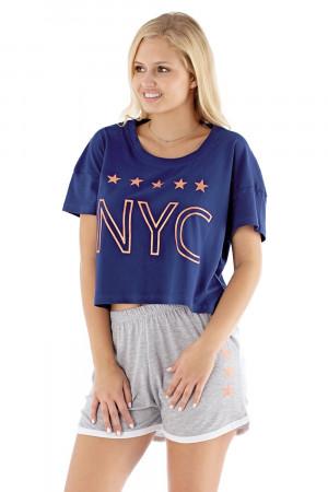 Dámské pyžamo NYC navy modrošedá S/M