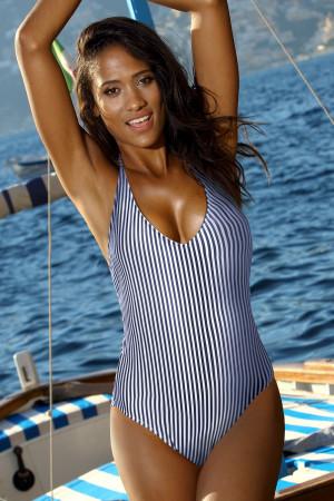 Dámské jednodílné plavky Niria modrobílá