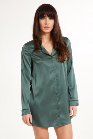 Saténová košile na spaní Secret Delight zelená