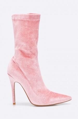 Public Desire - Nízké kozačky Pink Velvet