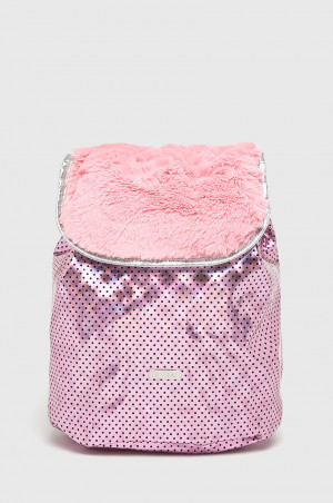 Spiral - Batoh Pink Polka Faux Fur