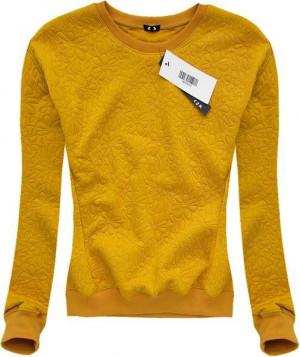 Halenka v hořčicové barvě s vytlačovanými květy (3112) žlutá S (36)