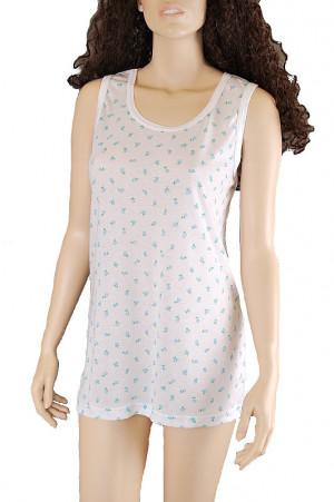 Krátká dámská košilka/spodnička Gucio 3XL-4XL bílá-květy 3XL
