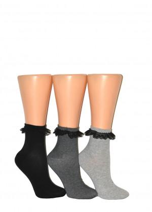 Dámské ponožky s krajkou Milena 0897 černá 37-41