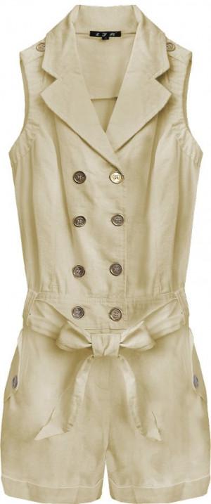 Krátký béžový dámský overal ze lnu a bavlny (1601) béžová S (36)