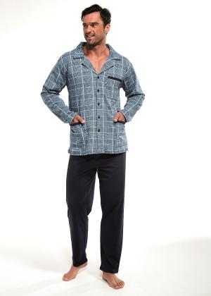 Rozepínané pánské pyžamo Cornette 114/40 dł/r M-2XL  tmavě šedá