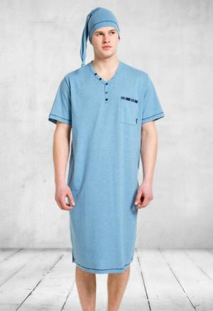 Pánská noční košile M-Max Bonifacy 357 kr/r tmavě šedá