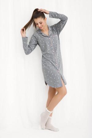 Dámská noční košile Luna 267 dł/r M-2XL šedá-srdce
