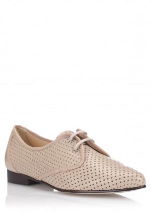 Béžové kožené děrované boty se špičkou Maria Jaén