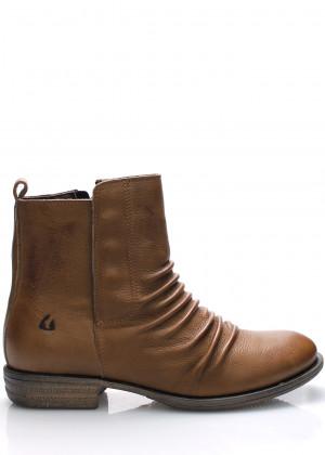 Hnědé kožené kotníkové boty Online Shoes