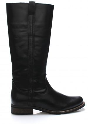 Černé kožené nižší kozačky Online Shoes
