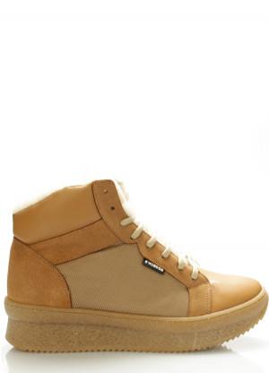 Béžové kožené boty s kožešinou Roobins