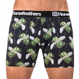 HORSEFEATHERS pánské zelenočerné boxerky Sidney Boxer Shorts Mans