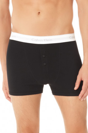CALVIN KLEIN černé boxerky s dlouhou nohavičkou Button Fly Boxer Brief U8103A