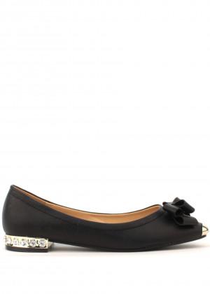 Park Lane Shoes Černé kožené balerínky s kovovou špičkou a kamínky