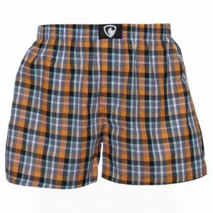 REPRESENT pánské bavlněné oranžovo-šedé kostkované trenýrky Alibox 17181