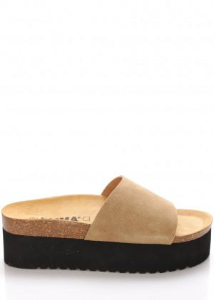 Béžové kožené pantofle na platformě EMMA Shoes