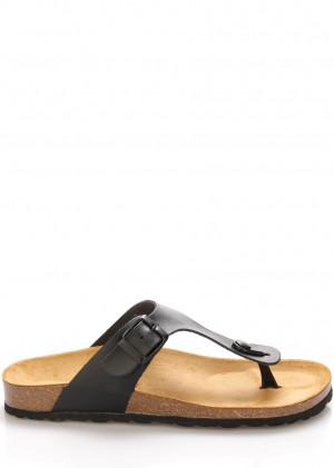 Černé kožené zdravotní pantofle EMMA Shoes