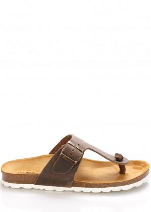 Hnědé kožené zdravotní pantofle EMMA Shoes