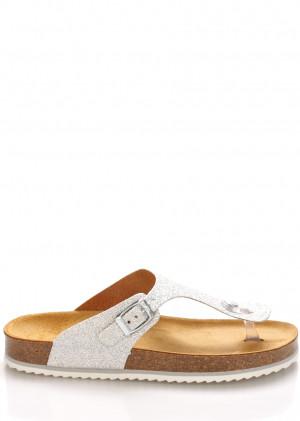 Stříbrné kožené zdravotní pantofle EMMA Shoes