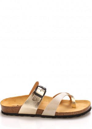 Zlaté kožené zdravotní pantofle EMMA Shoes