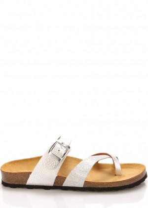 Stříbrno-bílé kožené zdravotní pantofle EMMA Shoes