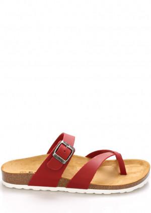 Červené kožené zdravotní pantofle EMMA Shoes