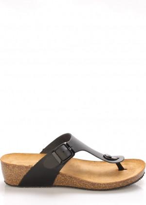 Černé kožené zdravotní pantofle na klínku EMMA Shoes