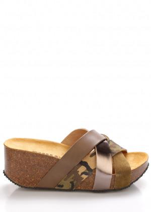 Hnědo zelené kožené pantofle na platformě EMMA Shoes