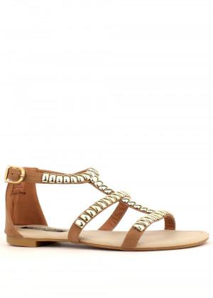 Park Lane Shoes Béžové kožené sandály Park Lane se zlatými cvoky