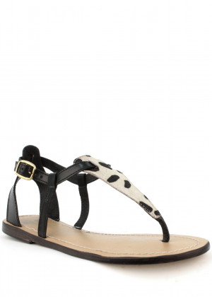 Laceys london Sandály z pravé kůže s leopardím vzorem Laceys