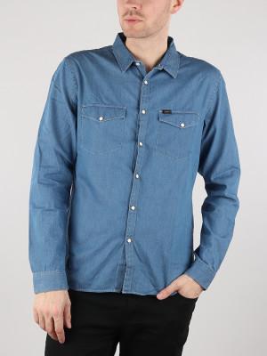 Košile Lee Ls Clean Western Medieval Blue Modrá