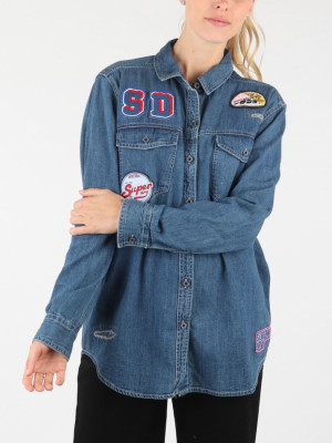 Košile Superdry Oversized Denim Shirt Modrá