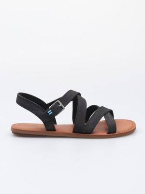 Sandály Toms Blk Canvas/Denim Wm Sicily Sand Černá