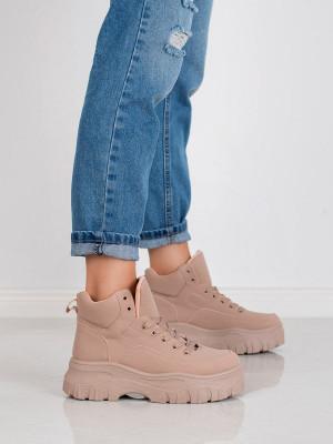 Exkluzívní dámské  kotníčkové boty růžové