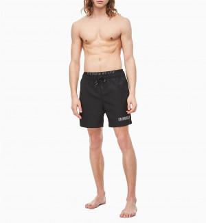 Pánské plavecké šortky KM0KM00385-BEH černá - Calvin Klein černá