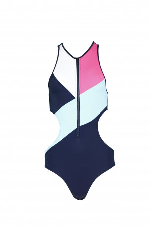 Jednodílné plavky UW0UW01429-616 tmavěmodrá - Tommy Hilfiger tm.modrá/růžová
