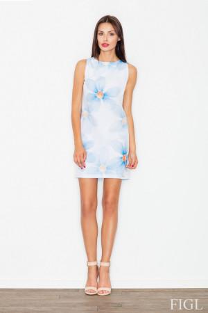 Dámské šaty M498 - Figl  bílo-modré květy