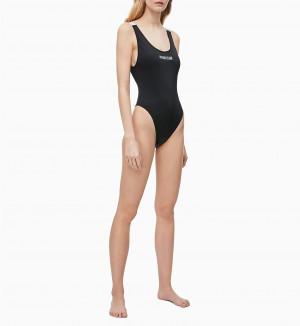 Jednodílné plavky KW0KW00825-BEH černá - Calvin Klein černá