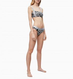 Spodní díl plavek KW0KW00822-0GS černobílá - Calvin Klein černo-bílá