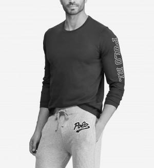 Pánské pyžamové tričko 714757467002 černá - Ralph Lauren černá