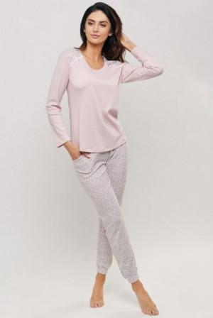 Cana 083 Dámské pyžamo XL różowy pudrowy-panterka