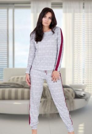 M-Max Miranda 682 M-2XL Dámské pyžamo XL szary-bordowy
