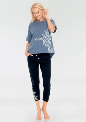 Key LHS 745 A19 Dámské pyžamo S jeans-czarny