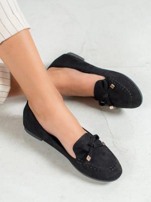 Luxusní černé  baleríny dámské bez podpatku