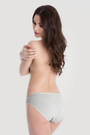 Julimex Cotton Hi-cut šedé Kalhotky XL šedá