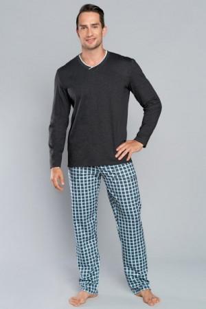 Italian Fashion Baron dl.r. dl.k. Pánské pyžamo M tmavý melanž/modrá