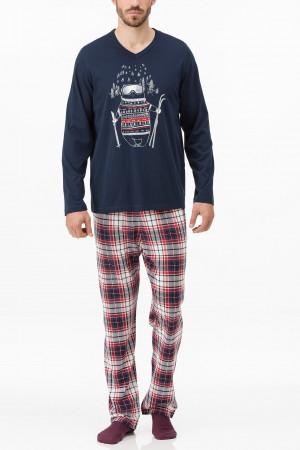 Pánské pyžamo 11447-180 modročervená - Vamp modro-červená