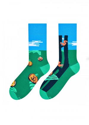 Pánské vzorované nepárové ponožky More 079  zelená 39-42