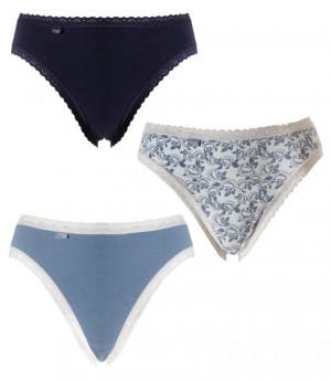 Dámské kalhotky SLOGGI 24/7 WEEKEND TAI C3P bílá-tmavě modrá-zelenomodrá